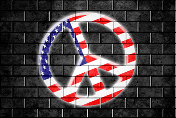 brick wall USA Peace