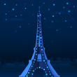 Blue cutout paper night vector Eiffel tower