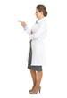 Full length portrait of doctor woman pointing on copy space