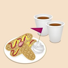 Hot Coffee in Disposable Cup with Hot Dog Waffles