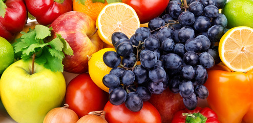 bright background of bright fruit and vegetables