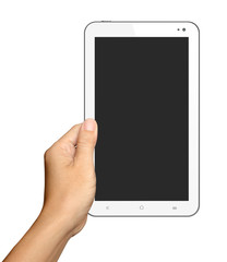 Hands are holding Small White Tablet Computer on white backgroun