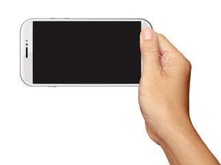 Hand holding White Smartphone in horizontal on white background
