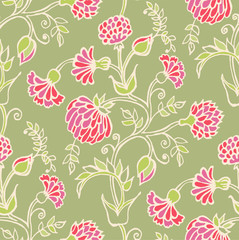Floral vector seamless pattern. Hand drawn