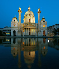 Karlskirche in Vienna Austria in the evening