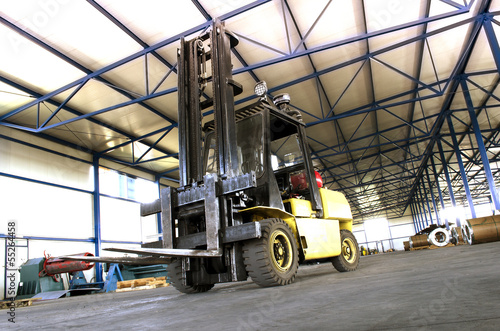 canvas print picture forklift in production hall