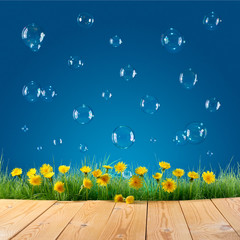 nature background with soap bubbles
