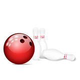 Pins / skittles with bowling ball. Vector illustration