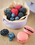 Macarons and berry fruits