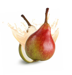 Pear with juice splash on white