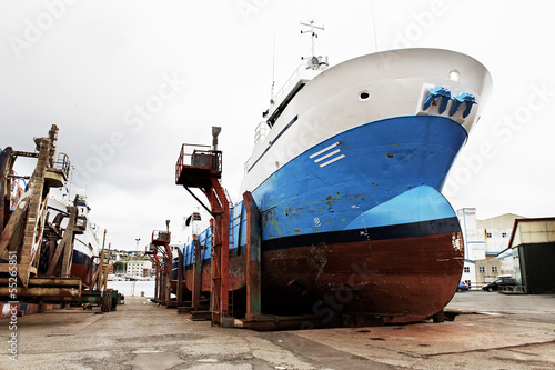 Fishing ship on shipyard