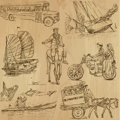 Transportation around the World (part 2) - hand drawings