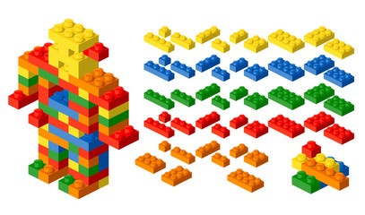 Plastic blocks. Vector design elements.