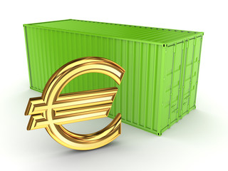 Green container and sign of euro.