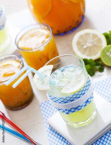 Colorful of lemonade and orange juice. .