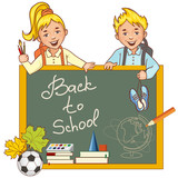 Cartoon schoolgirl and schoolboy at the blackboard