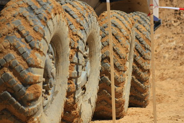 The tires on the wheels of large off-road truck