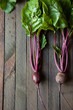 beets with leaves on the boards