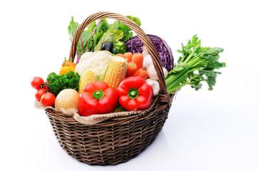 Basket of organic fresh produce from farmers market