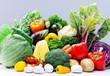 Variety of raw fresh produce from farmers market
