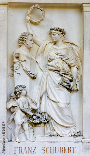 Vienna  - Relief from tomb of composer  Franz Schubert