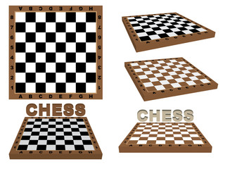 set of chessboards over white