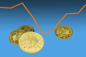 Goldmünzen vor Kursdiagramm