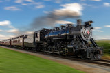 Fototapety historic steam train passes through the fields2