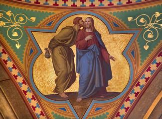 Vienna - Fresco of Judas betray Jesus