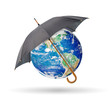 Black umbrella protect earth,isolated on white
