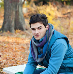 Young man in park.