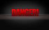 Danger Sign 3D Letters on Black Background