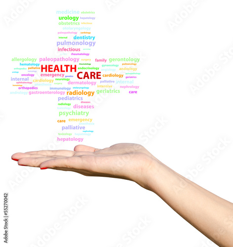 Young Girl Hand Holding Health Care Cross Word Cloud