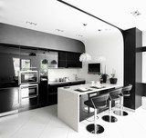 clean white european kitchen