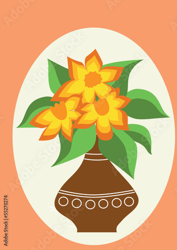 Bouquet of orange flowers with green leaves in a brown vase
