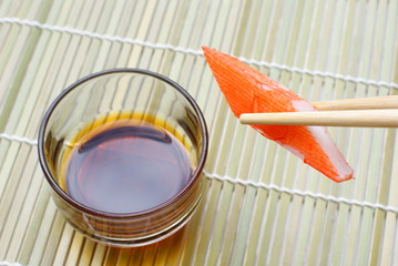 crab stick with soy sauce