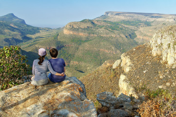 Couple looking at Blyde river canyon, travel in South Africa