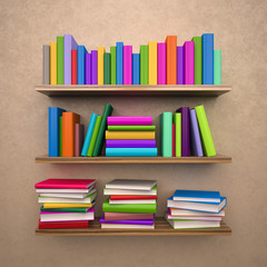 Bookshelf with colorful books