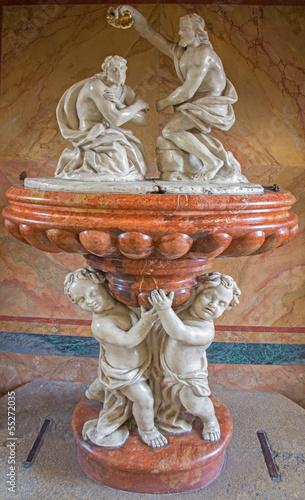Vienna - Baroque baptistery from church Maria Treu