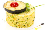 couscous embellished with eggplant and tomato poster