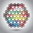 Abstract colorful hexagon lights concept