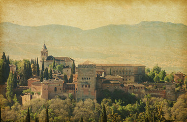 View of the Alhambra from the Albayzin of Granada,   Spain.