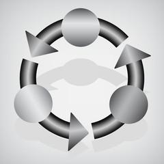 Gray circular banner template