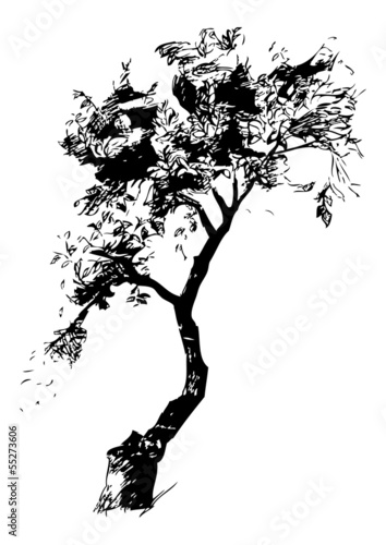 Lopsided tree black and white graphic vector illustration