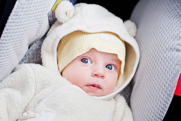 Newborn in the car seat