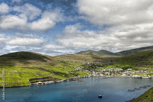The village Vestmanna in the Faroe Islands