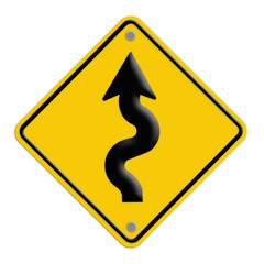 traffic sign Zigzag isolate on yellow background