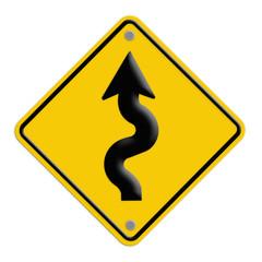 traffic sign Zigzag isolate on yellow background
