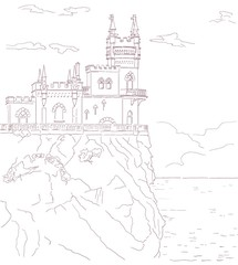 Old medieval castle, vector hand drawn sepia illustration.