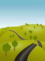 Illustration - Hügel mit Straße - Landschaft